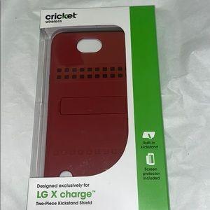 💜LG X charge 2PC kickstand shield phone Case